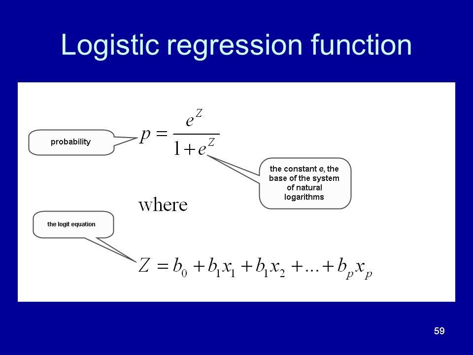 59 Logistic regression function