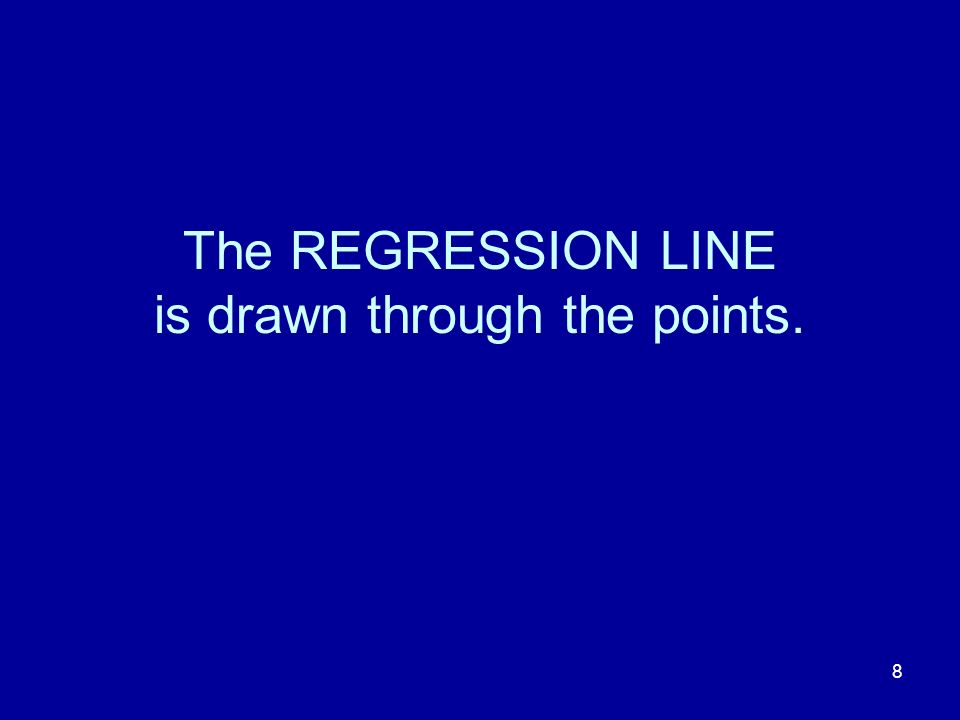 8 The REGRESSION LINE is drawn through the points.