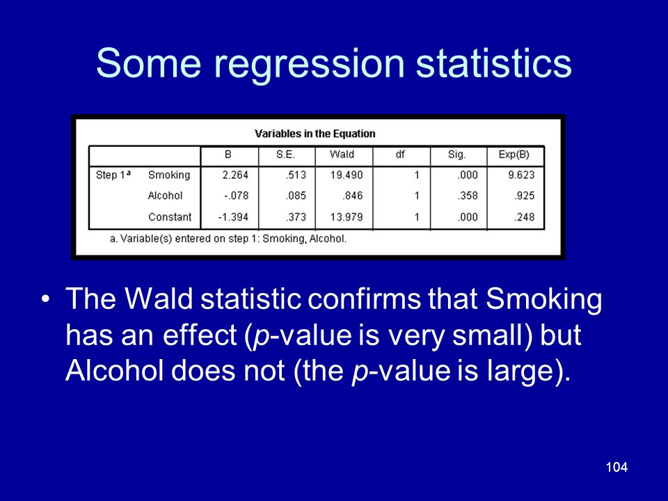 104 Some regression statistics The Wald statistic confirms that Smoking has an effect (p-value is very small) but Alcohol does not (the p-value is lar