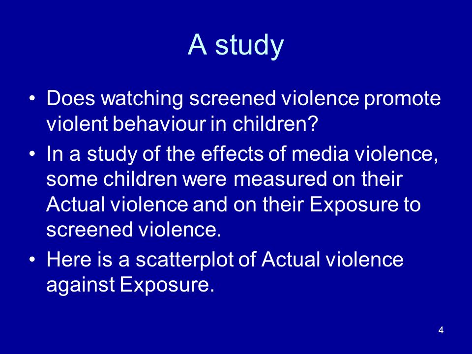 35 Two or more IVs: multiple regression We could try to predict a childs actual violence not only from level of exposure to screen violence, but also from additional variables, such as level of parental violence and parental education.