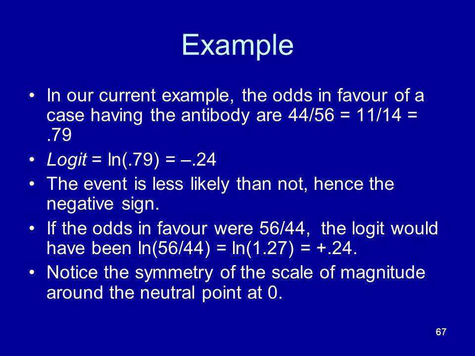 67 Example In our current example, the odds in favour of a case having the antibody are 44/56 = 11/14 =.79 Logit = ln(.79) = –.24 The event is less li