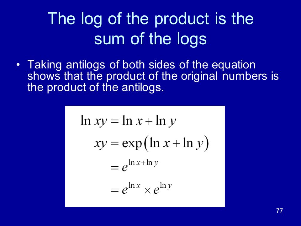 77 The log of the product is the sum of the logs Taking antilogs of both sides of the equation shows that the product of the original numbers is the p