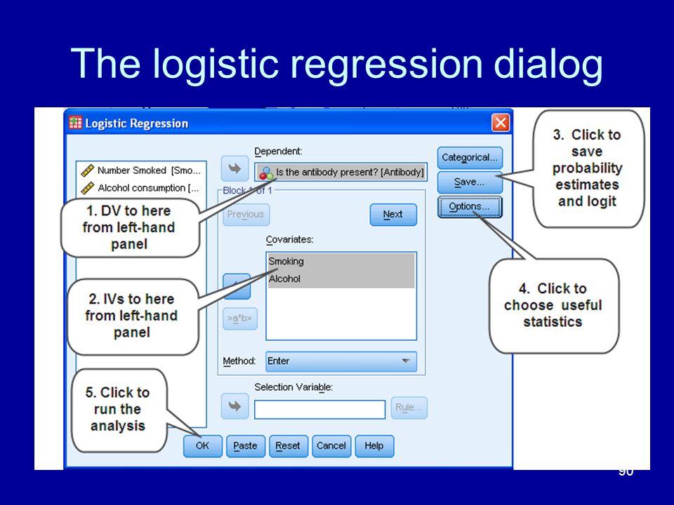 90 The logistic regression dialog