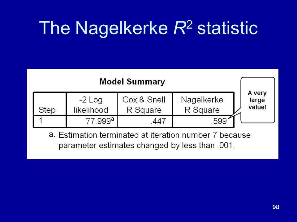 98 The Nagelkerke R 2 statistic