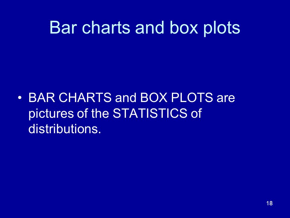 18 Bar charts and box plots BAR CHARTS and BOX PLOTS are pictures of the STATISTICS of distributions.