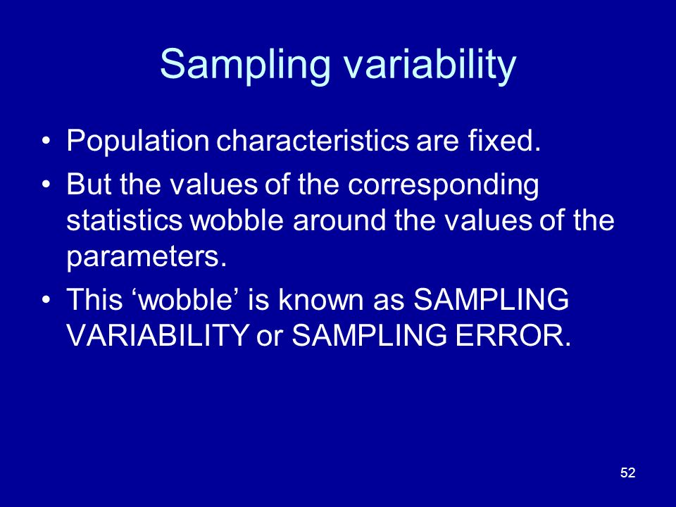 52 Sampling variability Population characteristics are fixed.