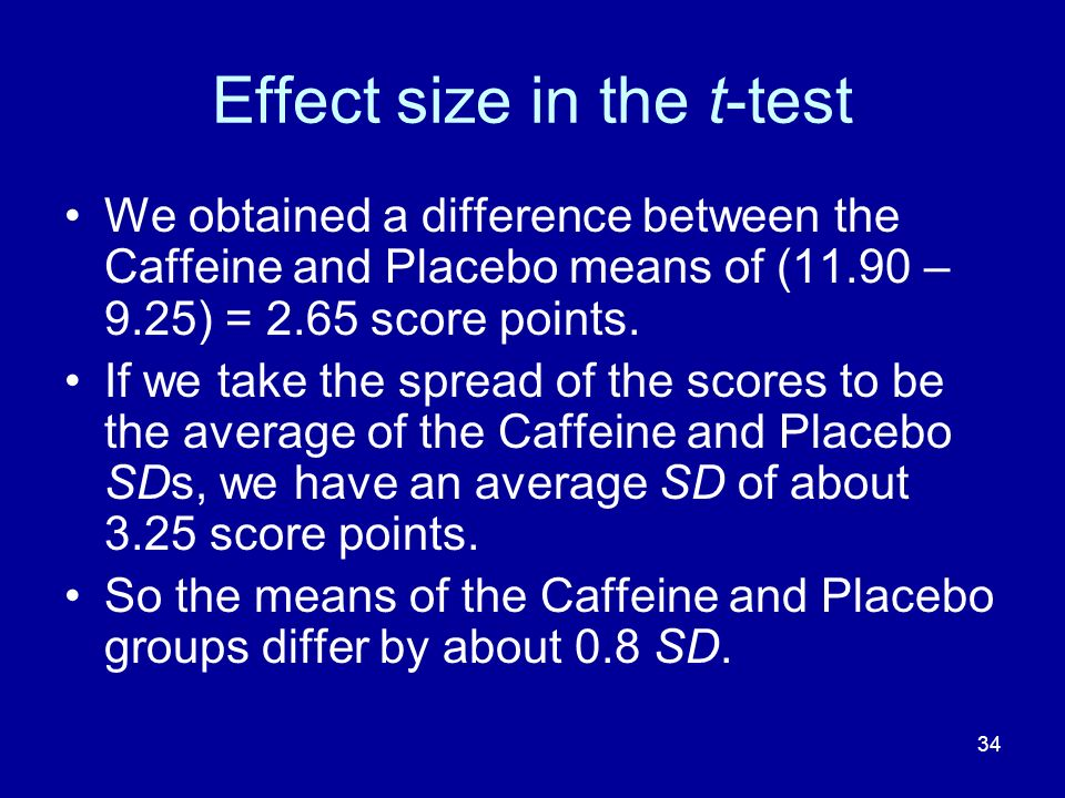 34 Effect size in the t-test We obtained a difference between the Caffeine and Placebo means of (11.90 – 9.25) = 2.65 score points. If we take the spr