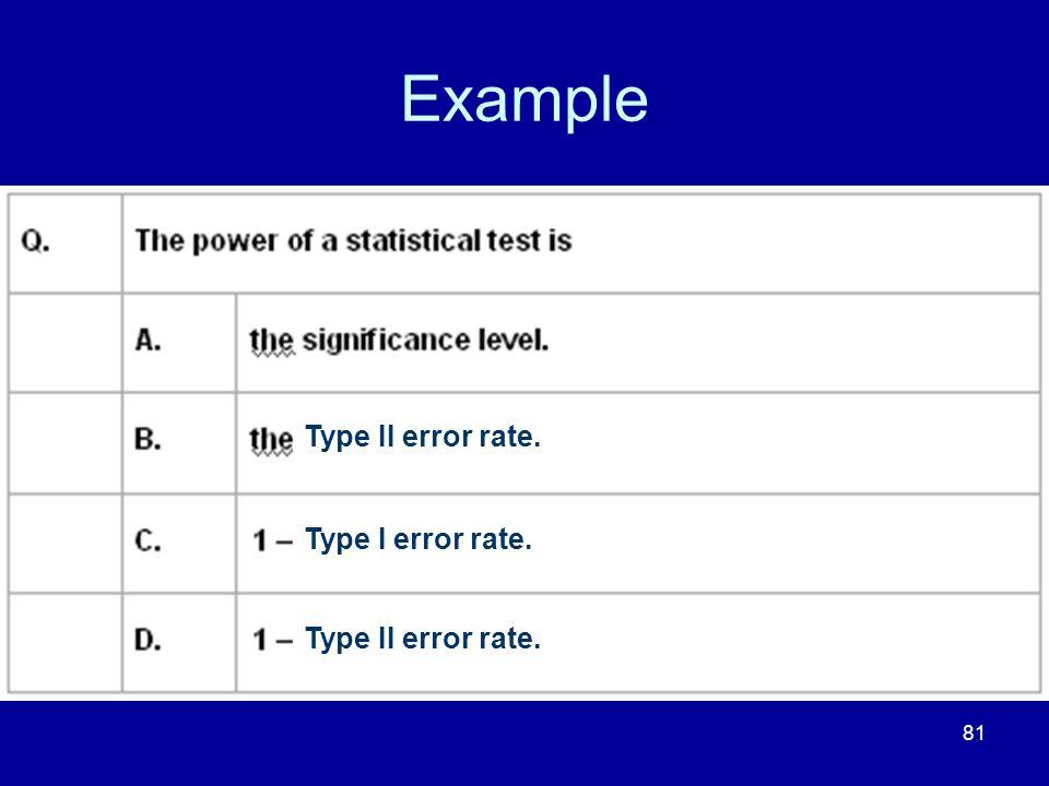81 Example Type II error rate. Type I error rate. Type II error rate.