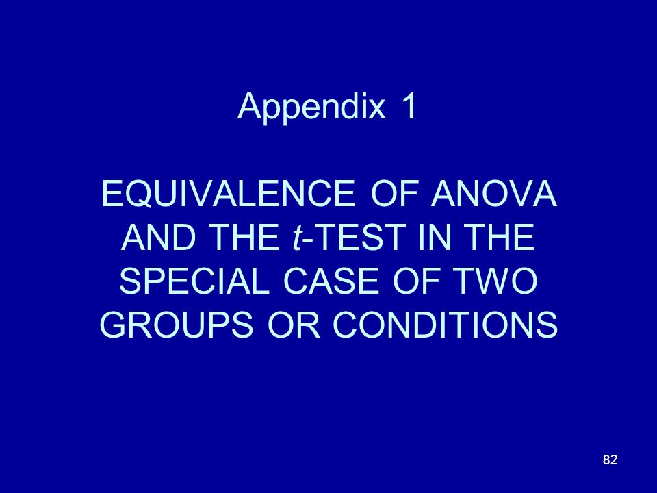 82 Appendix 1 EQUIVALENCE OF ANOVA AND THE t-TEST IN THE SPECIAL CASE OF TWO GROUPS OR CONDITIONS
