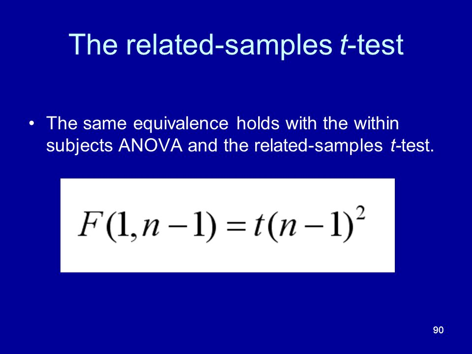 90 The related-samples t-test The same equivalence holds with the within subjects ANOVA and the related-samples t-test.