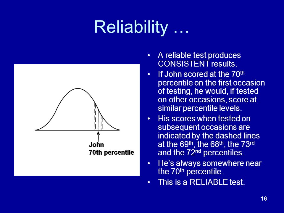 16 Reliability … A reliable test produces CONSISTENT results.
