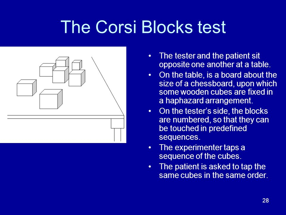 28 The Corsi Blocks test The tester and the patient sit opposite one another at a table.