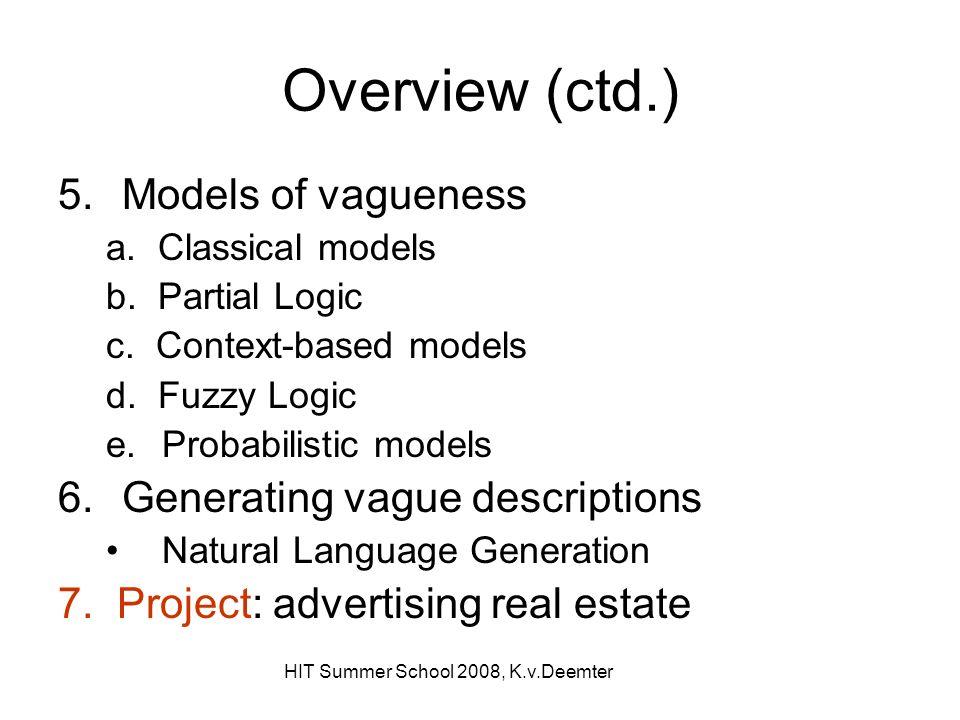 HIT Summer School 2008, K.v.Deemter Overview (ctd.) 5.Models of vagueness a.