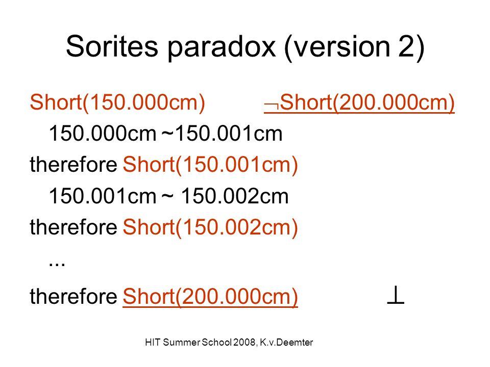 HIT Summer School 2008, K.v.Deemter Sorites paradox (version 2) Short(150.000cm) Short(200.000cm) 150.000cm ~150.001cm therefore Short(150.001cm) 150.001cm ~ 150.002cm therefore Short(150.002cm)...