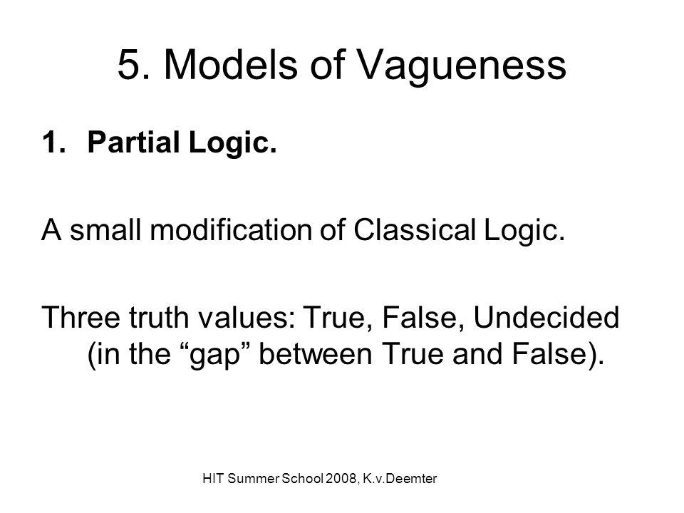 HIT Summer School 2008, K.v.Deemter 5.Models of Vagueness 1.Partial Logic.