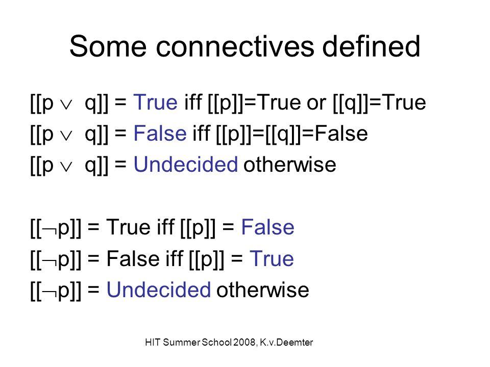 HIT Summer School 2008, K.v.Deemter Some connectives defined [[p q]] = True iff [[p]]=True or [[q]]=True [[p q]] = False iff [[p]]=[[q]]=False [[p q]] = Undecided otherwise [[ p]] = True iff [[p]] = False [[ p]] = False iff [[p]] = True [[ p]] = Undecided otherwise