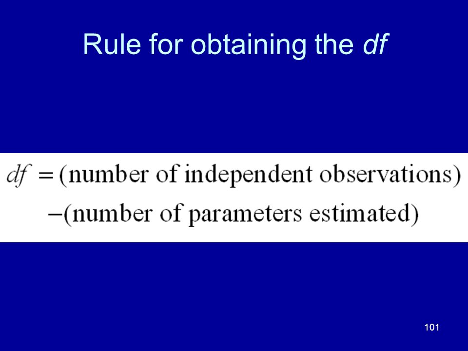 101 Rule for obtaining the df