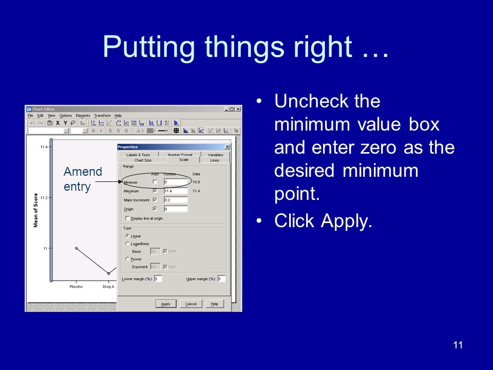 11 Putting things right … Uncheck the minimum value box and enter zero as the desired minimum point. Click Apply. Amend entry