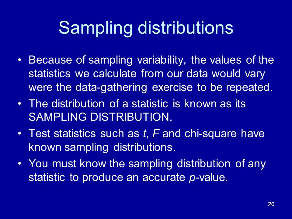 20 Sampling distributions Because of sampling variability, the values of the statistics we calculate from our data would vary were the data-gathering