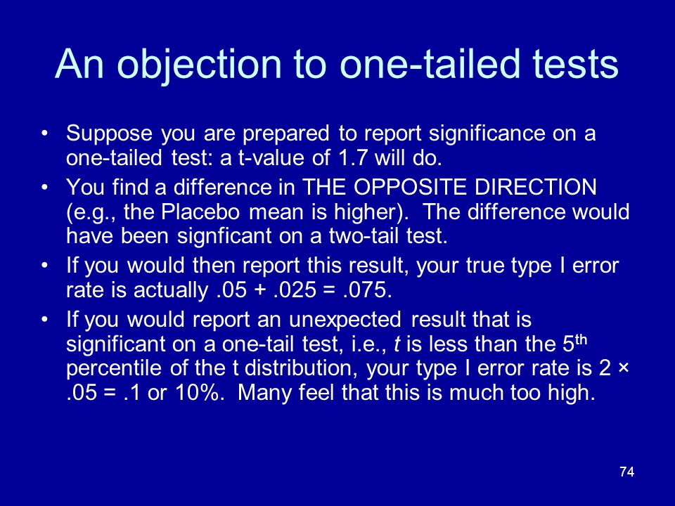 74 An objection to one-tailed tests Suppose you are prepared to report significance on a one-tailed test: a t-value of 1.7 will do. You find a differe