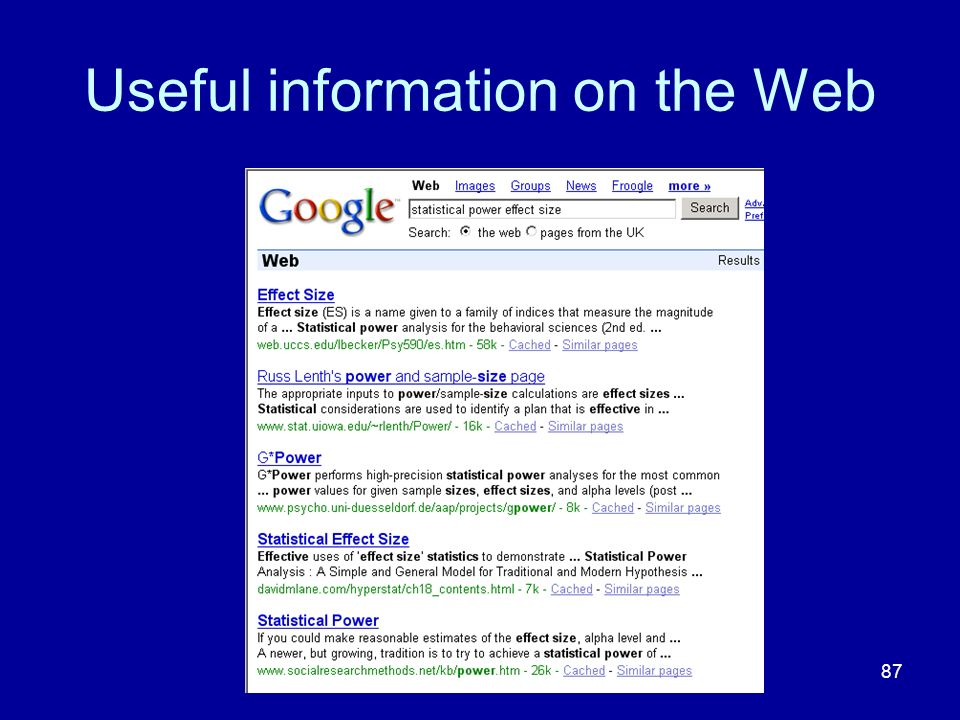 87 Useful information on the Web