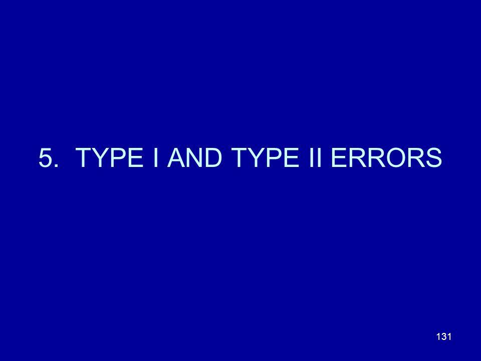 131 5. TYPE I AND TYPE II ERRORS