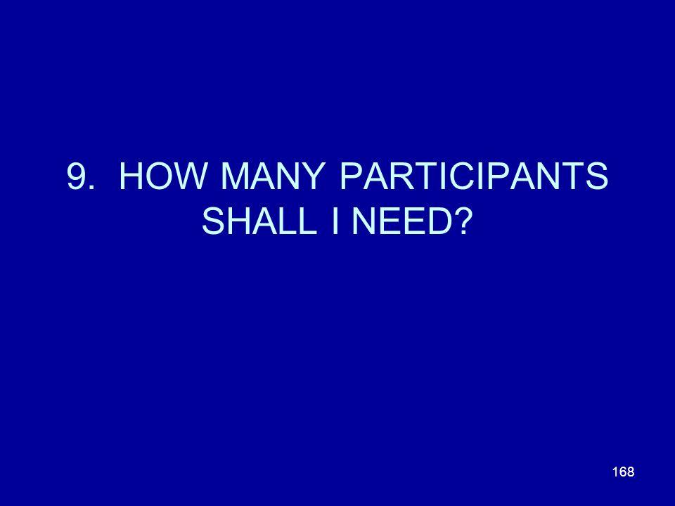 168 9. HOW MANY PARTICIPANTS SHALL I NEED?