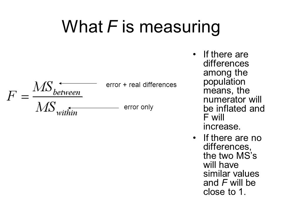 191 What F is measuring If there are differences among the population means, the numerator will be inflated and F will increase. If there are no diffe