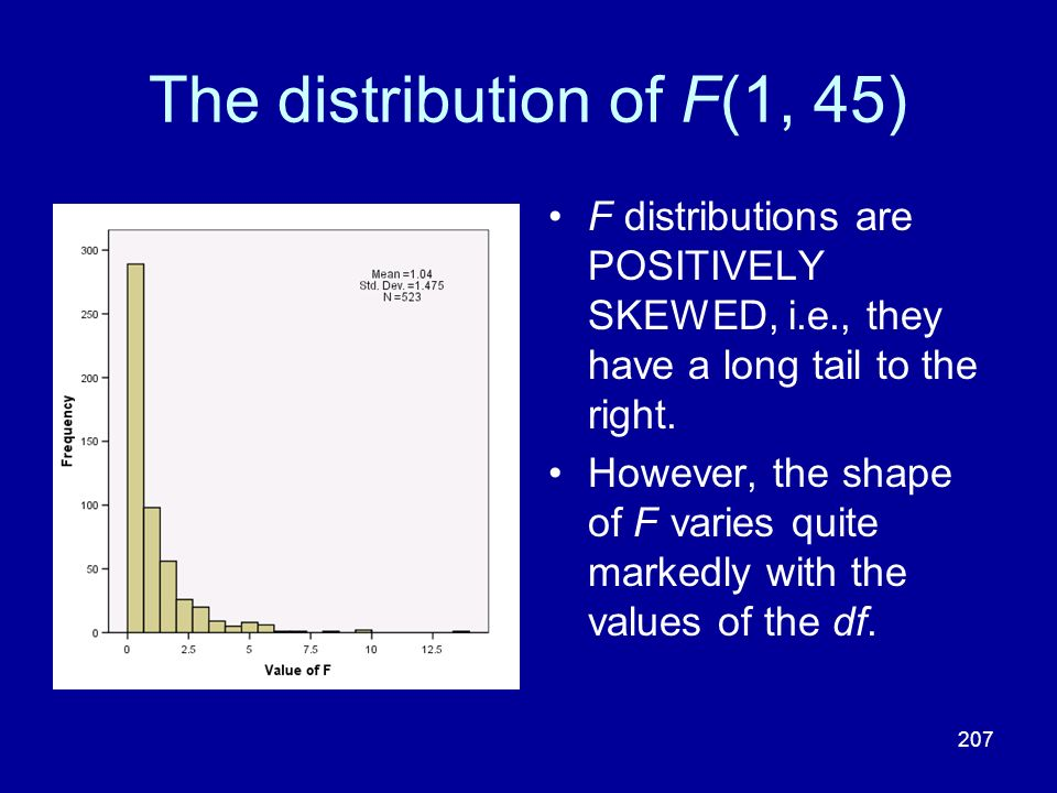 207 The distribution of F(1, 45) F distributions are POSITIVELY SKEWED, i.e., they have a long tail to the right. However, the shape of F varies quite
