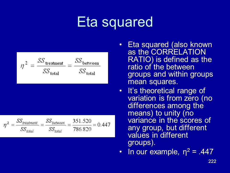 222 Eta squared Eta squared (also known as the CORRELATION RATIO) is defined as the ratio of the between groups and within groups mean squares. Its th