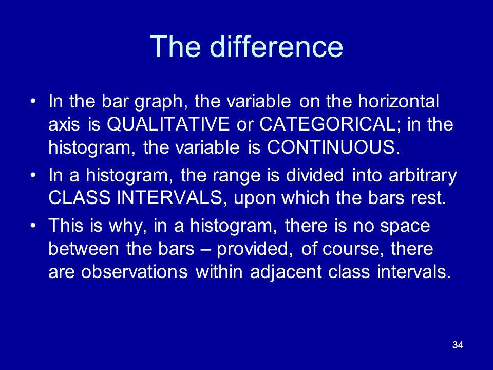 34 The difference In the bar graph, the variable on the horizontal axis is QUALITATIVE or CATEGORICAL; in the histogram, the variable is CONTINUOUS. I