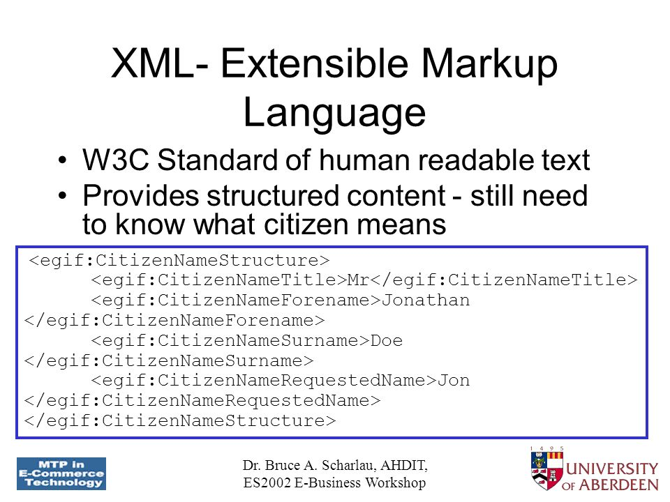 Dr. Bruce A. Scharlau, AHDIT, ES2002 E-Business Workshop XML- Extensible Markup Language W3C Standard of human readable text Provides structured conte