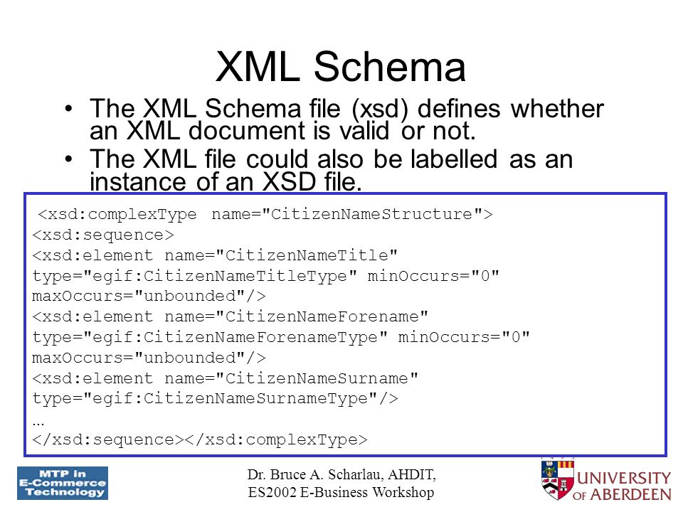 Dr. Bruce A. Scharlau, AHDIT, ES2002 E-Business Workshop XML Schema The XML Schema file (xsd) defines whether an XML document is valid or not. The XML
