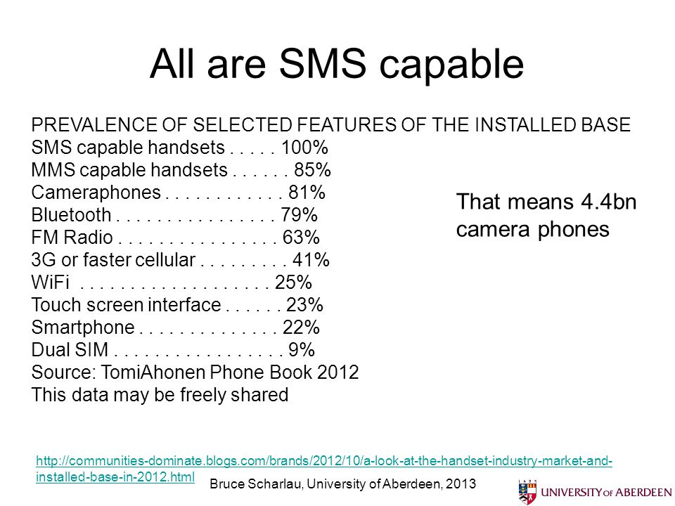 All are SMS capable Bruce Scharlau, University of Aberdeen, 2013 http://communities-dominate.blogs.com/brands/2012/10/a-look-at-the-handset-industry-m