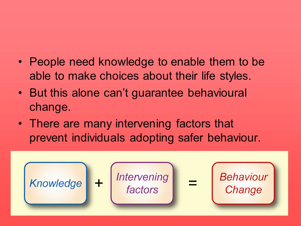 People need knowledge to enable them to be able to make choices about their life styles. But this alone cant guarantee behavioural change. There are m