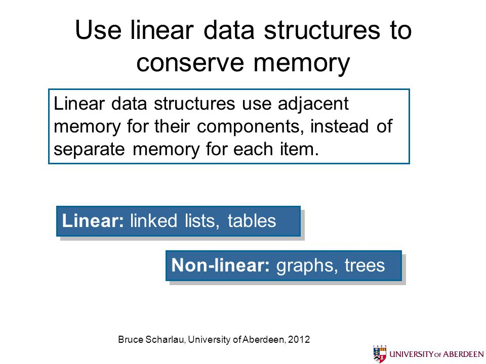 Bruce Scharlau, University of Aberdeen, 2012 Use linear data structures to conserve memory Linear data structures use adjacent memory for their components, instead of separate memory for each item.