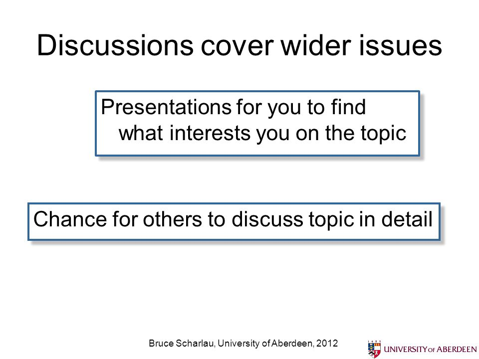 Discussions cover wider issues Presentations for you to find what interests you on the topic Chance for others to discuss topic in detail Bruce Scharlau, University of Aberdeen, 2012
