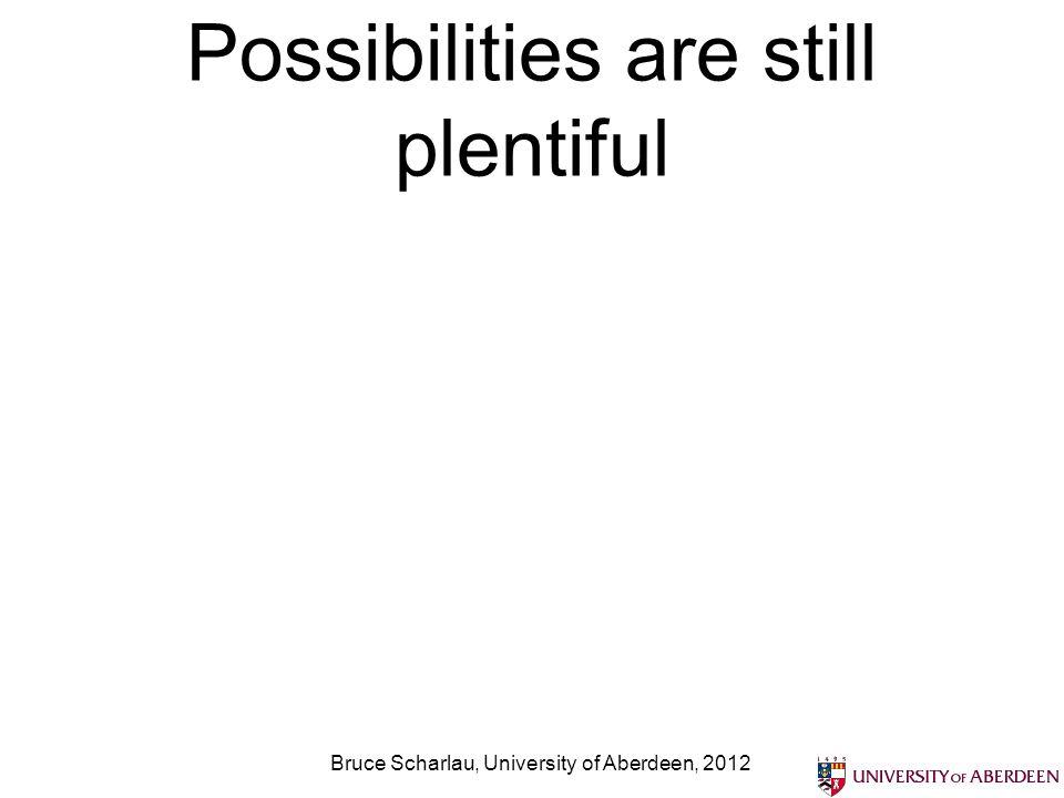 Possibilities are still plentiful Bruce Scharlau, University of Aberdeen, 2012