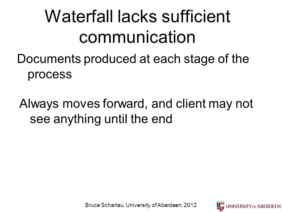 Waterfall lacks sufficient communication Documents produced at each stage of the process Bruce Scharlau, University of Aberdeen, 2012 Always moves for