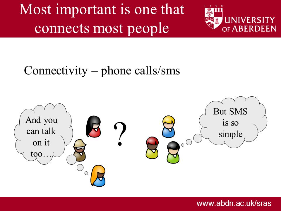 www.abdn.ac.uk/sras Most important is one that connects most people Connectivity – phone calls/sms ? But SMS is so simple And you can talk on it too…