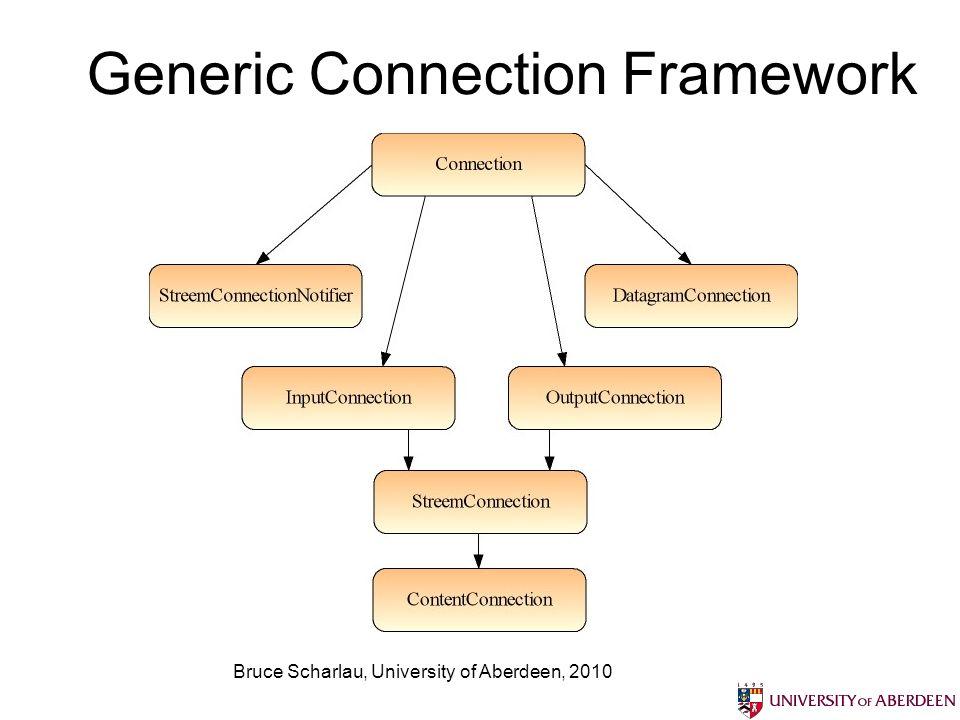 Bruce Scharlau, University of Aberdeen, 2010 Generic Connection Framework