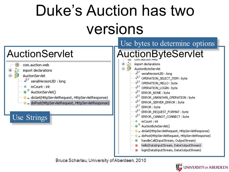 Bruce Scharlau, University of Aberdeen, 2010 Dukes Auction has two versions AuctionServletAuctionByteServlet Use Strings Use bytes to determine options
