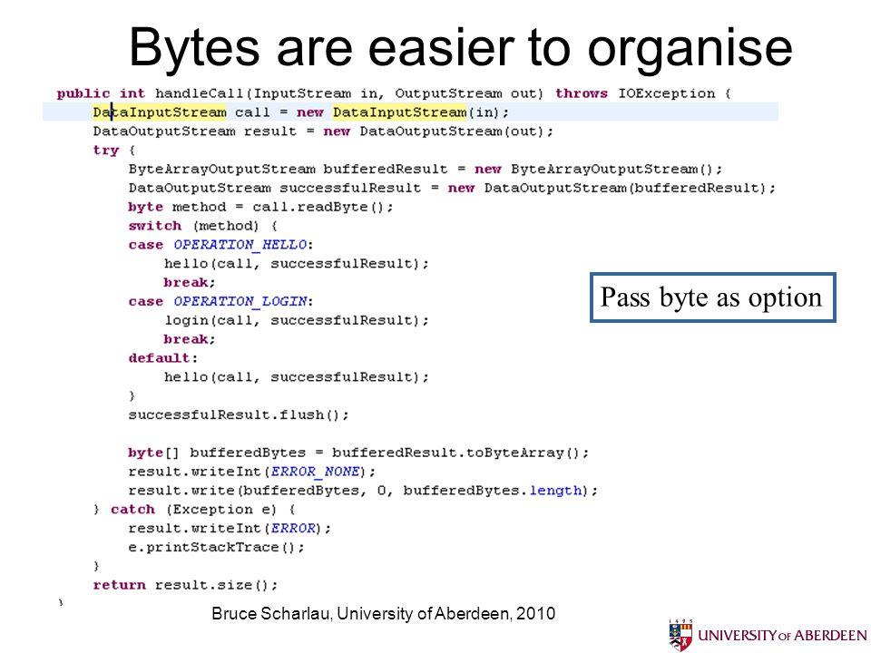 Bruce Scharlau, University of Aberdeen, 2010 Bytes are easier to organise Pass byte as option