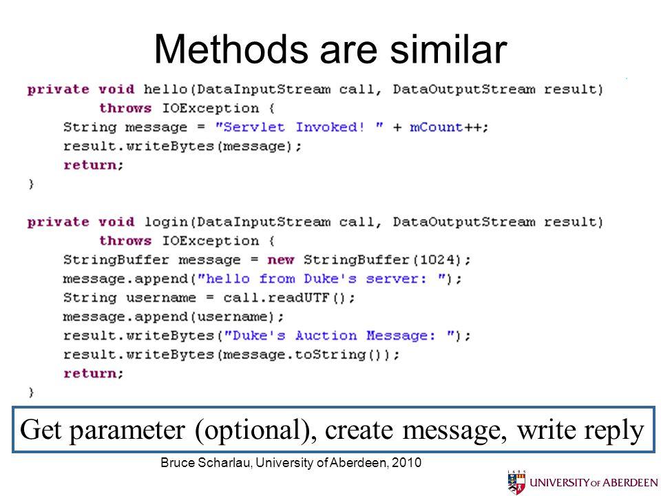 Bruce Scharlau, University of Aberdeen, 2010 Methods are similar Get parameter (optional), create message, write reply