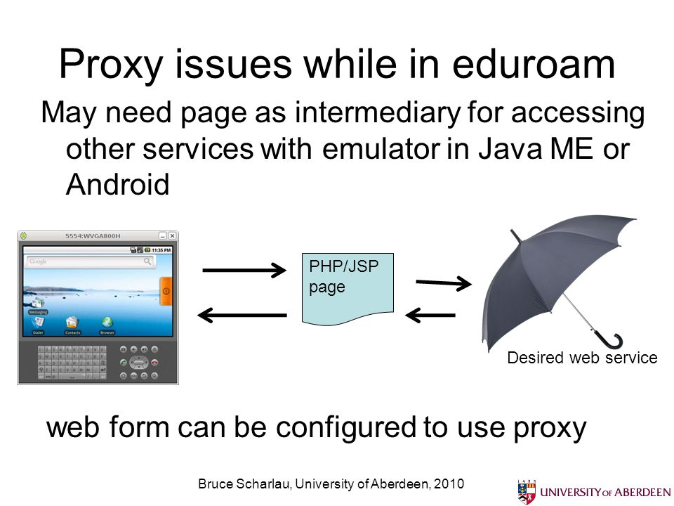 Proxy issues while in eduroam May need page as intermediary for accessing other services with emulator in Java ME or Android Bruce Scharlau, University of Aberdeen, 2010 PHP/JSP page Desired web service web form can be configured to use proxy