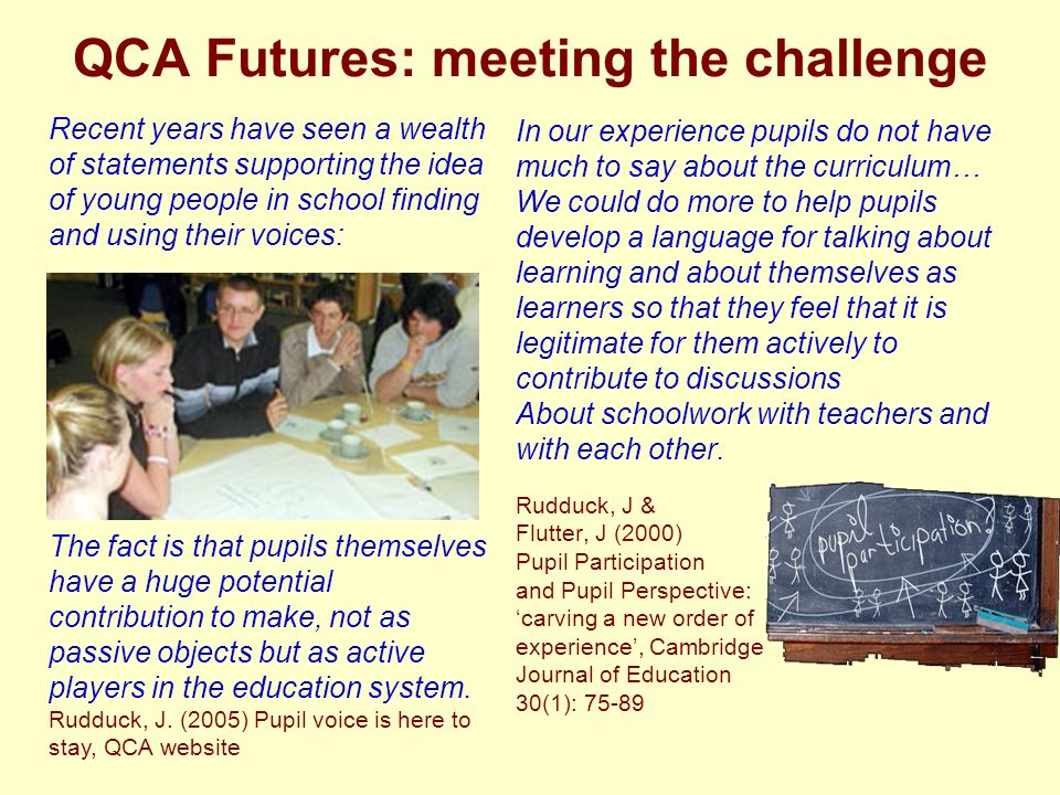 QCA Futures: meeting the challenge In our experience pupils do not have much to say about the curriculum… We could do more to help pupils develop a language for talking about learning and about themselves as learners so that they feel that it is legitimate for them actively to contribute to discussions About schoolwork with teachers and with each other.