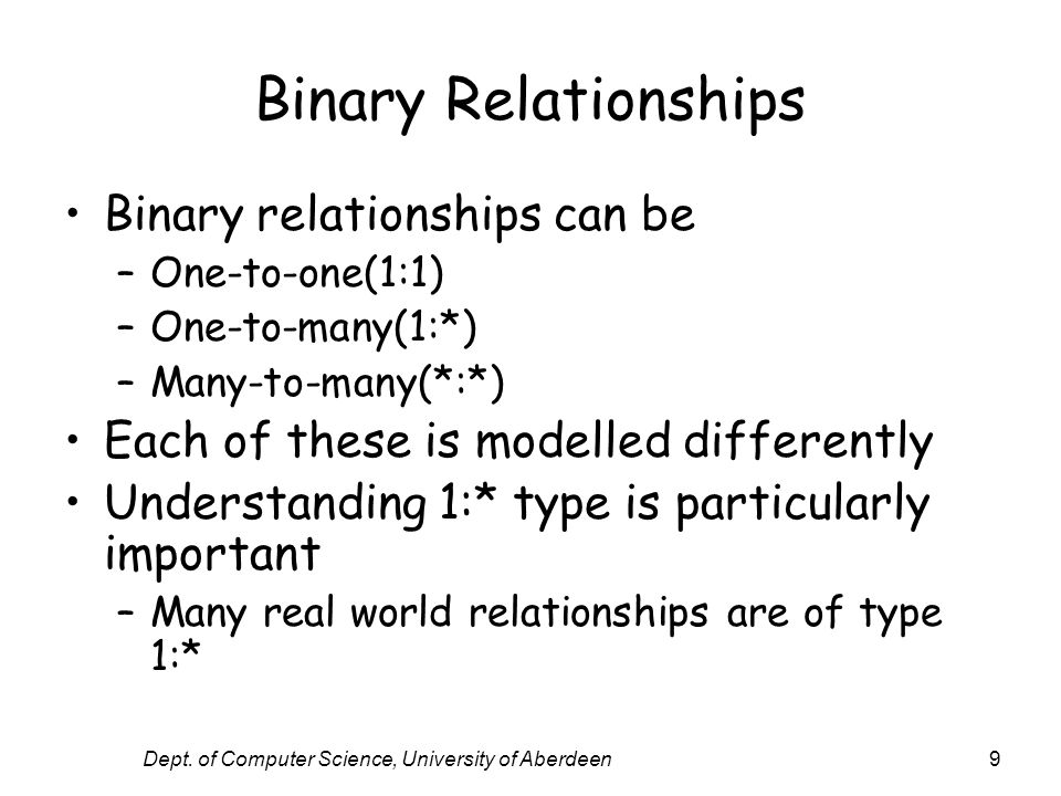 Dept. of Computer Science, University of Aberdeen9 Binary Relationships Binary relationships can be –One-to-one(1:1) –One-to-many(1:*) –Many-to-many(*