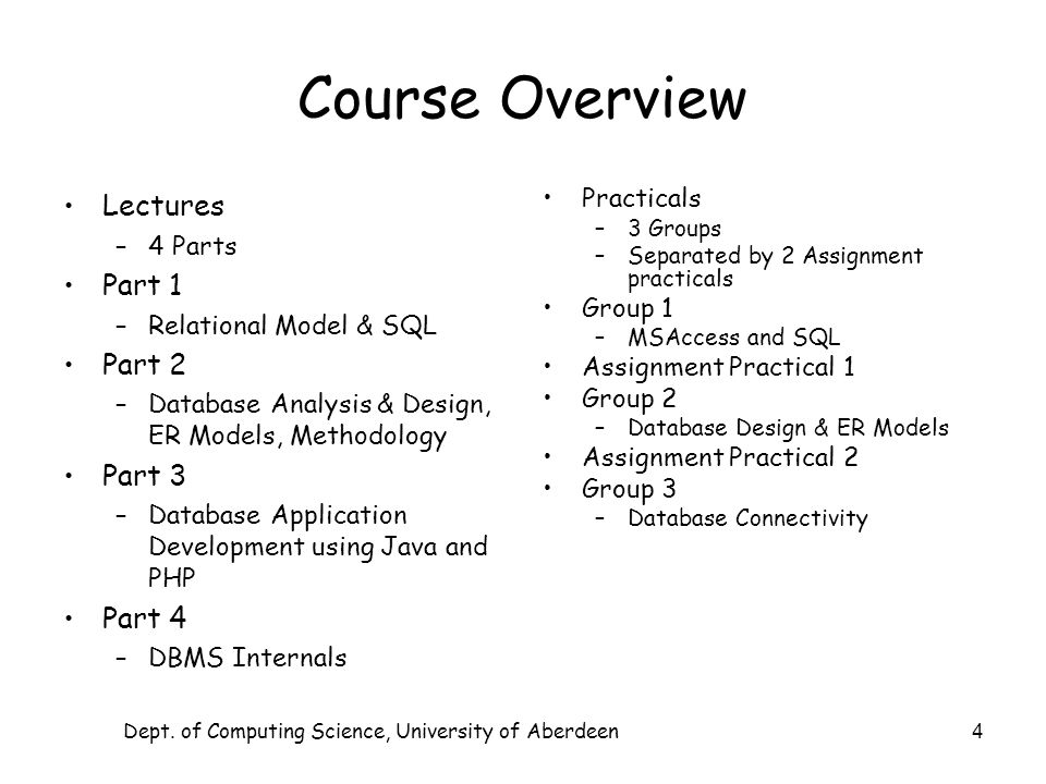 Dept. of Computing Science, University of Aberdeen 4 Course Overview Lectures –4 Parts Part 1 –Relational Model & SQL Part 2 –Database Analysis & Desi