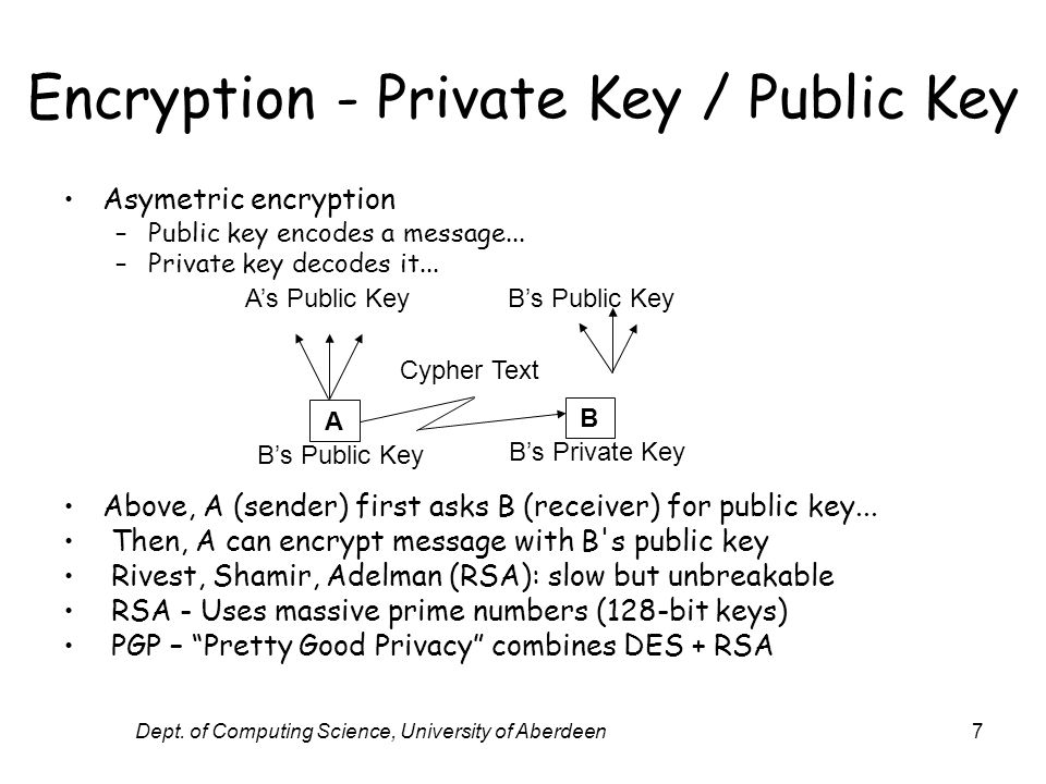 Dept. of Computing Science, University of Aberdeen7 Encryption - Private Key / Public Key Asymetric encryption –Public key encodes a message... –Priva
