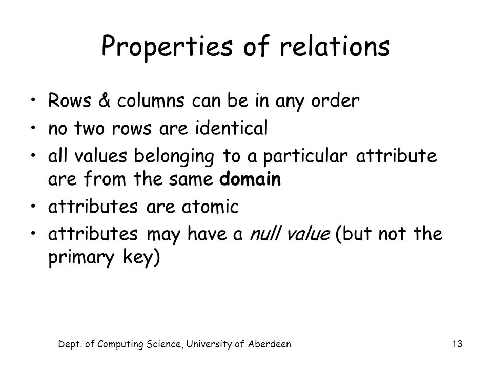 Dept. of Computing Science, University of Aberdeen 13 Properties of relations Rows & columns can be in any order no two rows are identical all values